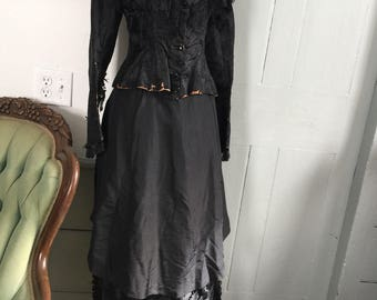 Vintage 1880's black victorian mourning dress outfit