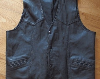 Mens Black Leather Vest, Front Snaps Fully Lined