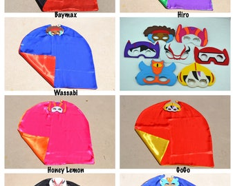 Big Hero 6 Cape and Mask - Kids Superhero Costume. Great for Child Toddler Birthday Party Favor Outfit. Personalized Name Available