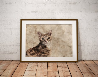 Orange Tabby Cat Striped Cat art Art Custom Pet Portrait on Canvas Watercolor Domestic Shorthair Abstract Cat Art Print Pastel Cat Art Print