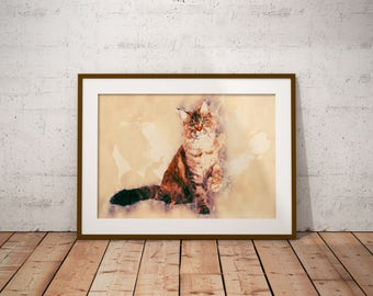 Maine Coon Cat Watercolor Painting Maine Coon Cat Art Print Custom Pet Portrait Custom Cat Poster Striped Maine Coon Cat Abstract Cat Art