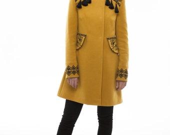 Embroidered Cashmere Coat for Woman. Boho style. Ukrainian Winter coats. Autumn coat. Autumn Spring Fashion Jacket. Designer Vyshyvanka.