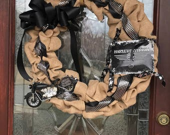 Harley Wreath - Harley Davidson Wreath - Motorcycle Wreath - Biker Wreath - Born to Ride Wreath - Burlap Wreath - Year Round Wreath - Cycle