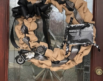 Front Door Wreaths-Harley Wreath-Harley Davidson Wreath-Motorcycle Wreath-Biker Wreath-Born to Ride Wreath-Burlap Wreath-Year Round Wreath