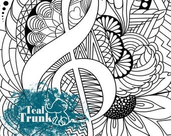 treble clef music coloring page kids coloring page adult coloring page music wall