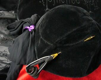 Grande Douleür, Hat, Mourning Hat, Restyled Hat, Vintage, Black, Felt, Crepe, Velvet, Genuine Pin, Fedora, 1930?, 1940?, 1950?