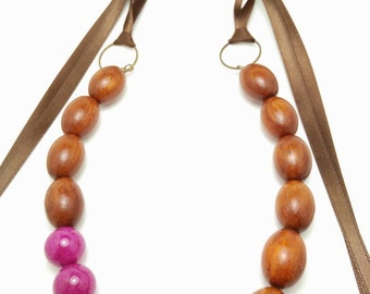 BERRY CHAI - Fuchsia Dyed Jade with Oval Bayong Wood Bead Ribbon Tie Necklace