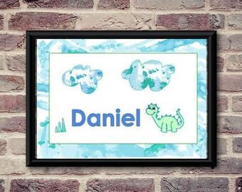 Personalised name sign, kids door sign, personalized name, name sign, nursery print, childrens print, bedroom door sign, custom, dinosaur