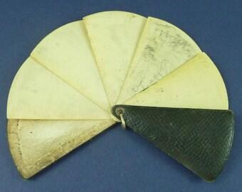 Leather Celluloid Aide Memoire Dance Card Fan Art Deco Vintage