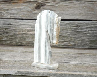 Vintage Marble Horse Head, Antique Onyx Marble Horse Head Bookend, Marble Knight, Chess Piece