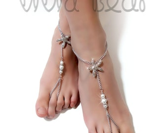 Starfish Barefoot Sandals. Silver Foot Jewelry. Rhinestone Starfish Charms and White Pearl Beads. Nautical Anklets. Beach Wedding. 2pcs.