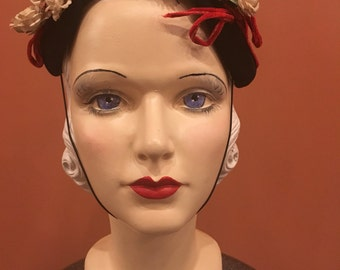 "Vintage 1950s ""Norman Durand"" Black Mary Poppins Cap"