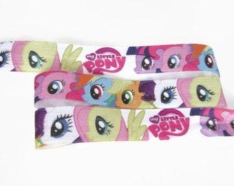 "Cute Pony Fold Over Elastic, FOE, Fold over Elastic by the Yard, DIY Hair Ties and Headbands, 5/8"" Wide Fabric"