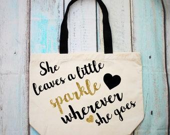 She Leaves a Little Sparkle Wherever She Goes Large Tote Shopper Bag