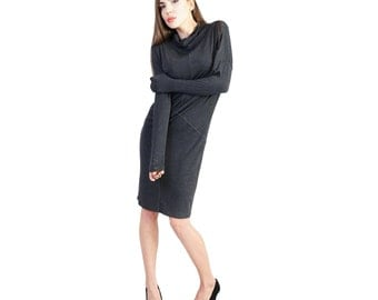 Cotton womens dress - Casual women dress - Spring women dress - Cotton midi dress - Turtleneck dress -  Dark gray office dress - UM37