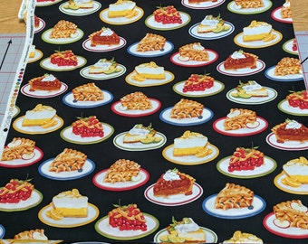Kiss the Cook-Pies on Black Cotton Fabric from Robert Kaufman