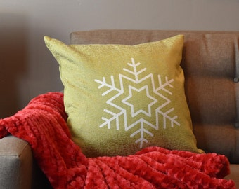 """Snowflake - Throw Pillow, Winter Decor, Decorative Pillow, Accent Pillow - 18"""" X 18"""" In Green, Red, Light Blue, Silver Or White"""