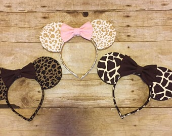 Disney Minnie Mickey Mouse Inspired Ears Animal Kingdom Cheetah Giraffe Print Fabric Bow Headband