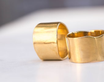 Cigar Band Ring, Extra Wide Gold Band, Matte Gold Ring, Wide Gold Ring Band, Organic Gold Ring, Greek Gold Band, Wide Wedding Band