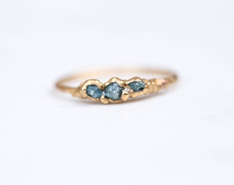 Triple Raw Blue Diamond Ring | Stackable Raw Diamond Ring | April Birthstone Ring | Raw Diamond Stacking Ring | Electroformed Diamond Ring
