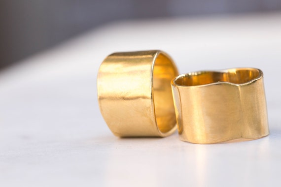 Cigar Band Ring 14mm Wide Extra Wide Gold Band Matte Gold
