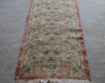 3'2''x6'2'' Turkish Handmade Rug, Distressed Turkish Rug, Vintage Low Pile Rug
