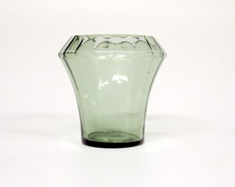 Beautiful Vintage glass vase-Green-Art Deco-glass object