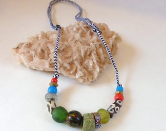 Camping Necklace made from Vintage African Glass Beads