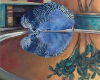 Budgie Bird Art ' Narcissus' Greeting Card  From An Oil Painting By Budgerigardener Budgie Parakeet Old Master Fine Art Mythology