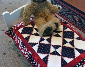 Doll quilt , doll blanket for an American Girl Doll or Miniature Quilt, Quiltsy handmade