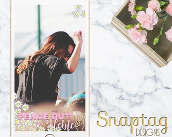 Custom Snapchat Geofilter || hippie bachelorette, 70s theme, peace out, glitter, gold, miss to mrs, bachelorette party, flower power, hippie