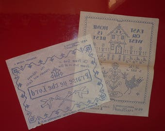 2 VINTAGE 1960s EMBROIDERY TRANSFERS..Briggs samplers..antique needlework..Needlewoman Needlecraft 84 89..religious Home Sweet Home..Weldons