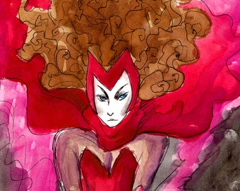 Scarlet Witch illustrated postcard