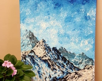 Mountain painting, Nature painting, Nature nursery art, Fantasy wall art, Fantasy gift, Nursery wall art, Winter painting, Mountain art