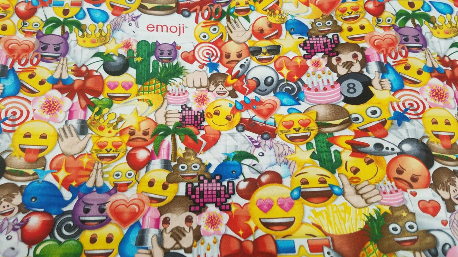 Allover emoji cotton print fabric david textiles by the yard for Emoji fabric