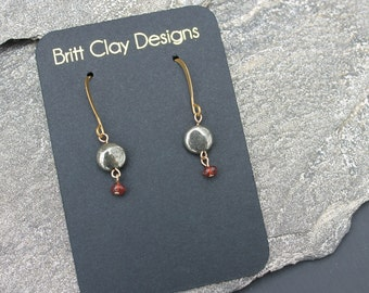 Petite Pyrite and Garnet Dangle Earrings, Small Pyrite Earrings, Pyrite Drop Earrings, Delicate Garnet, January Birthstone Earrings