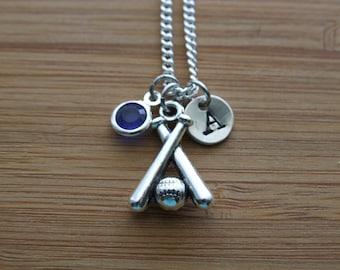 Personalized Baseball Necklace, Baseball Bat and Baseball Ball Set Necklace, Baseball Fan Necklace, Baseball Mom Gift, Monogram Necklace