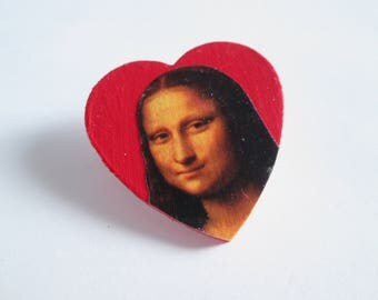Mona Lisa // Leonardo da Vinci Heart Pin