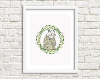 Panda Illustration, Art Print