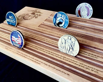 Marine's Riflemen Creed Military Challenge Coin Display Holder - customizable - personalized