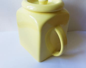 Vintage Art Deco Yellow Storage Jar by Pountney of Bristol, with Lid, 1930s or 1940s, Kitchen Storage