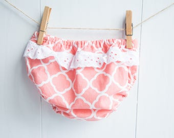 Ruffled Baby Bloomers-Coral Quatrefoil with White Eyelet Ruffle-Baby Girls Diaper Cover
