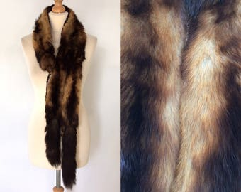 Vintage/antique black and gold fitch/polecat real fur taxidermy stole/wrap/scarf/collar