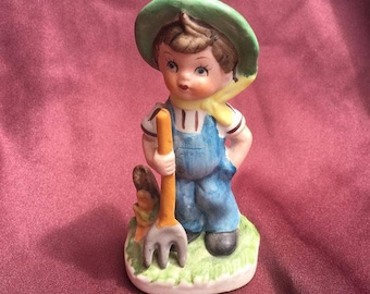 Lefton Trademak Exclusives Taiwan Farmer Boy with Pitchfork Figurine