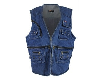 oversized denim utility vest / cargo jean vest / sleeveless jean jacket / XXL - XXXXL