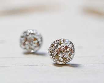 Tiny Silver Druzy Earrings, 8mm Round Druzy Earrings, Metallic Glitter Faux Drusy Posts Glittering Bright Shiny Silver Stainless Steel Studs
