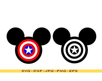 Mickey Mouse design and Captain America svg in svg, dxf, eps, png, jpg. For Silhouette, Cricut, vinyl cutting machines, embroidery.