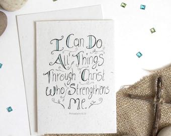 Philippians 4:13 - Eco-friendly A6 Blank Card