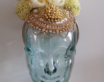 White and Gold Floral Headpiece, White Flower Headdress, Beaded Floral Headpiece, Floral Headband, Flower Crown,Burningman Floral Fascinator