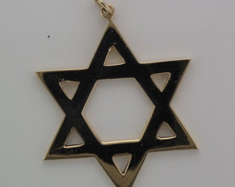 Star of David or Magen David 9ct Yellow Gold Pendant